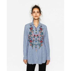 Zara Striped Floral Embroidered Button Down Shirt
